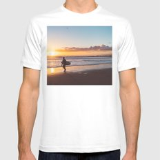 Venice Beach Surfer II Mens Fitted Tee White MEDIUM