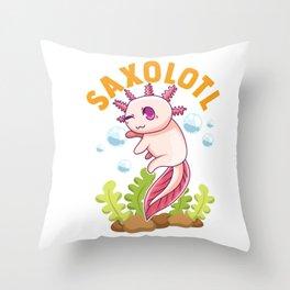 Cute & Funny Saxolotl Adorable Sax Playing Axolotl Throw Pillow
