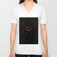 spider man V-neck T-shirts featuring Spider Man by Sport_Designs