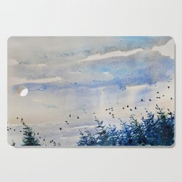 black birds, blue sky Cutting Board