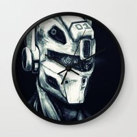 gundam Wall Clocks featuring Mech 01 by Louis Bullock