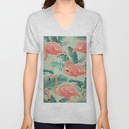 Flamingo Pattern on Mint Green - Kitschy Playful Tropical Palm Leaves Unisex V-Neck