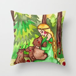 Mielikki and the bears Throw Pillow