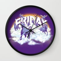 friday Wall Clocks featuring Friday! by littleclyde