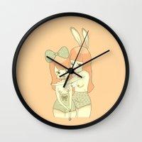 bunnies Wall Clocks featuring Bunnies by Mel Stringer