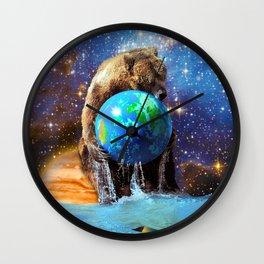 Give Planet Earth A Bear Hug! Wall Clock