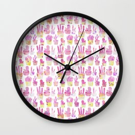 Girly blush pink coral watercolor hand painted cactus floral pattern Wall Clock