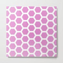 Pink and White Honeycomb Pentagon Pattern Metal Print