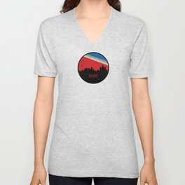 Detroit Skyline Unisex V-Neck