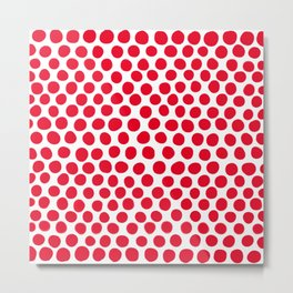 Juicy Red Apple Polka Dots with White Metal Print