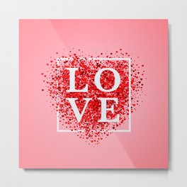 Confetti red heart on pink background with frame and lettering Love Metal Print