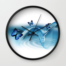 Blue Butterflies Wall Clock