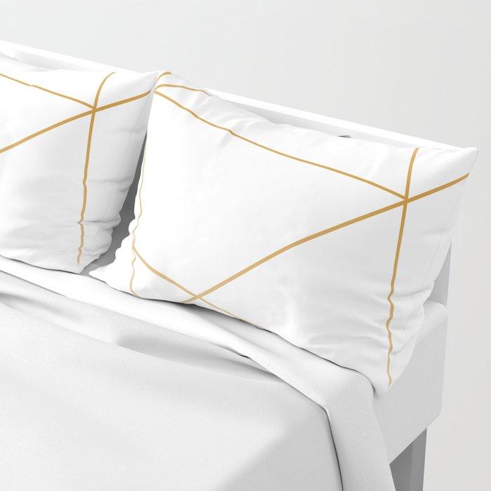 geometric gold and white Kissenbezug