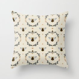 Ode to the Bumblebee (in cream) Throw Pillow