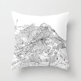 Edinburgh White Map Throw Pillow