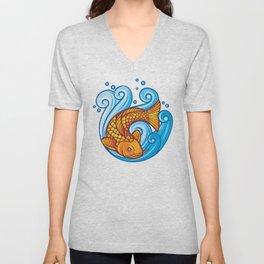 koi carp fish in the sea waves (japanese or chinese inspired design) Unisex V-Neck