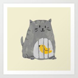A cat that swallows a bird Art Print