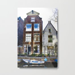 Amsterdam Canal Row Houses with Row Boat Parked in front Metal Print