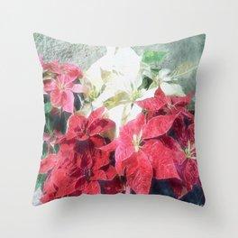 Mixed color Poinsettias 3 Watercolor Throw Pillow