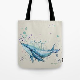 Blue Whale Island Tote Bag
