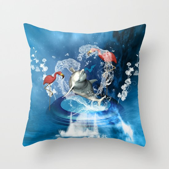 Dolphin jumping by a heart Throw Pillow