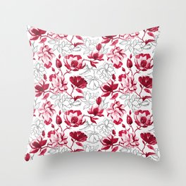 Red Magnolia Throw Pillow