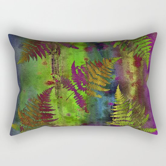 Colorful Fern Leaves Rectangular Pillow