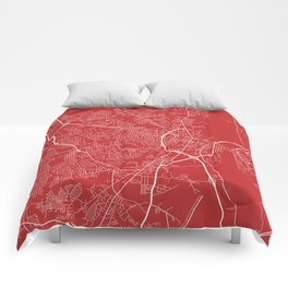 Fayetteville Map, USA - Red Comforters