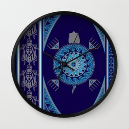 Water Turtle Blue Wall Clock
