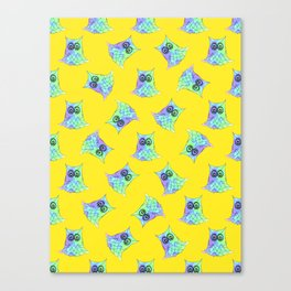 Topsy Turvy Owls Yellow Canvas Print