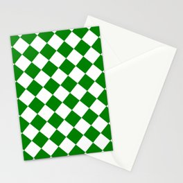 Large Diamonds - White and Green Stationery Cards