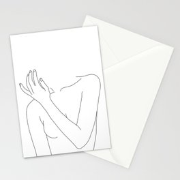 Woman's body line drawing - Fad Stationery Cards