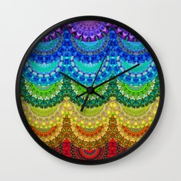 Chakra Mandala Healing Art by Sharon Cummings Wall Clock
