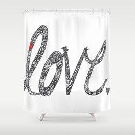 Love Zentangle  Shower Curtain