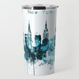 New York Monochrome Blue Skyline Travel Mug