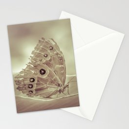 Patterned Wings Butterfly Over Leave Stationery Cards