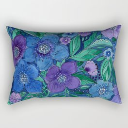 Watercolor . Blue flowers . Rectangular Pillow