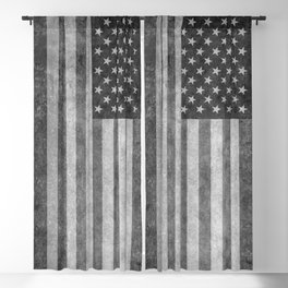 American flag - retro style in grayscale Blackout Curtain