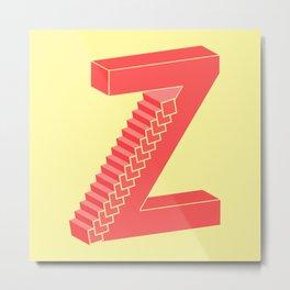 Z Typographic Illustration Metal Print
