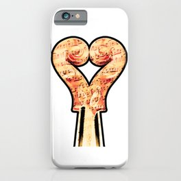 Music lover with two violins in heart shape and musical notes iPhone Case