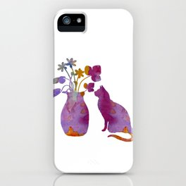 Cat and flowers iPhone Case