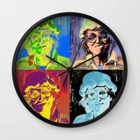 marylin monroe Wall Clocks featuring Pumpkin woman goes Marylin Monroe by Anki Hoglund