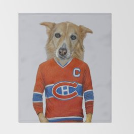 dog in sportwear Throw Blanket