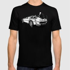 DeLorean / BW LARGE Black Mens Fitted Tee