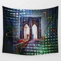 brooklyn bridge Wall Tapestries featuring New York Brooklyn Bridge by Walter Zettl