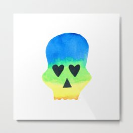 Rainbow Skull with Heart Eyes with Watercolor Effect Metal Print
