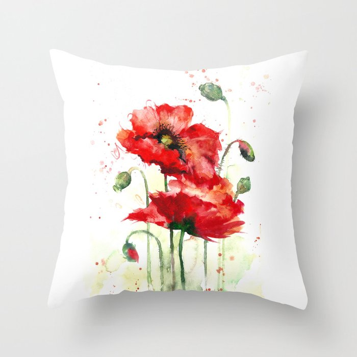 Watercolor Flowers Of Aquarelle Poppies Throw Pillow By Maryami Society6