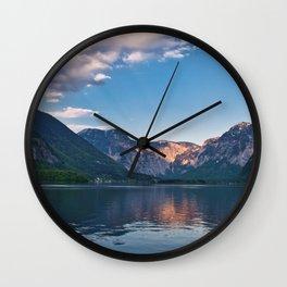 Beautiful sunset in Hallstatt village above the lake, Austria Wall Clock