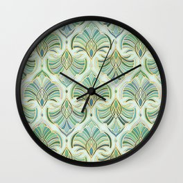 Jade Enamel Art Deco Fans Wall Clock