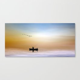 Fisherman and a Flock of Birds Canvas Print